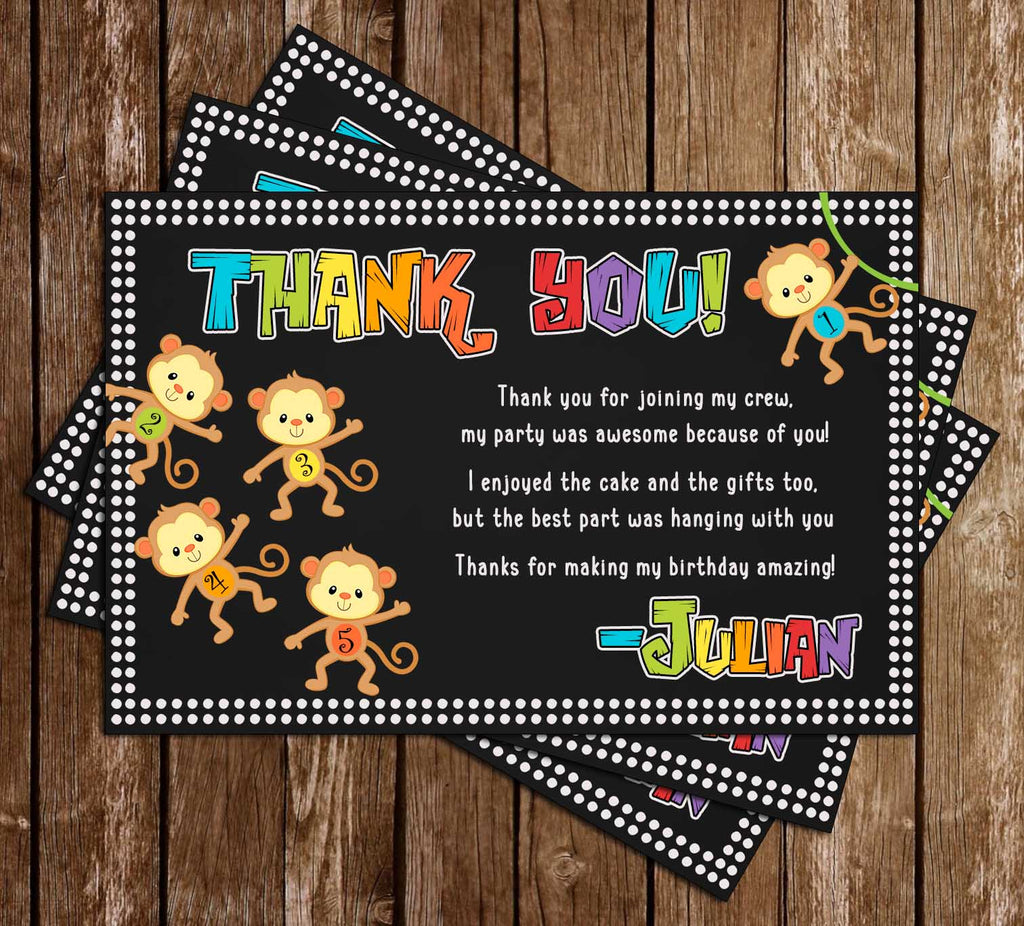 Five Little Monkeys - Birthday - Party - Thank You Card