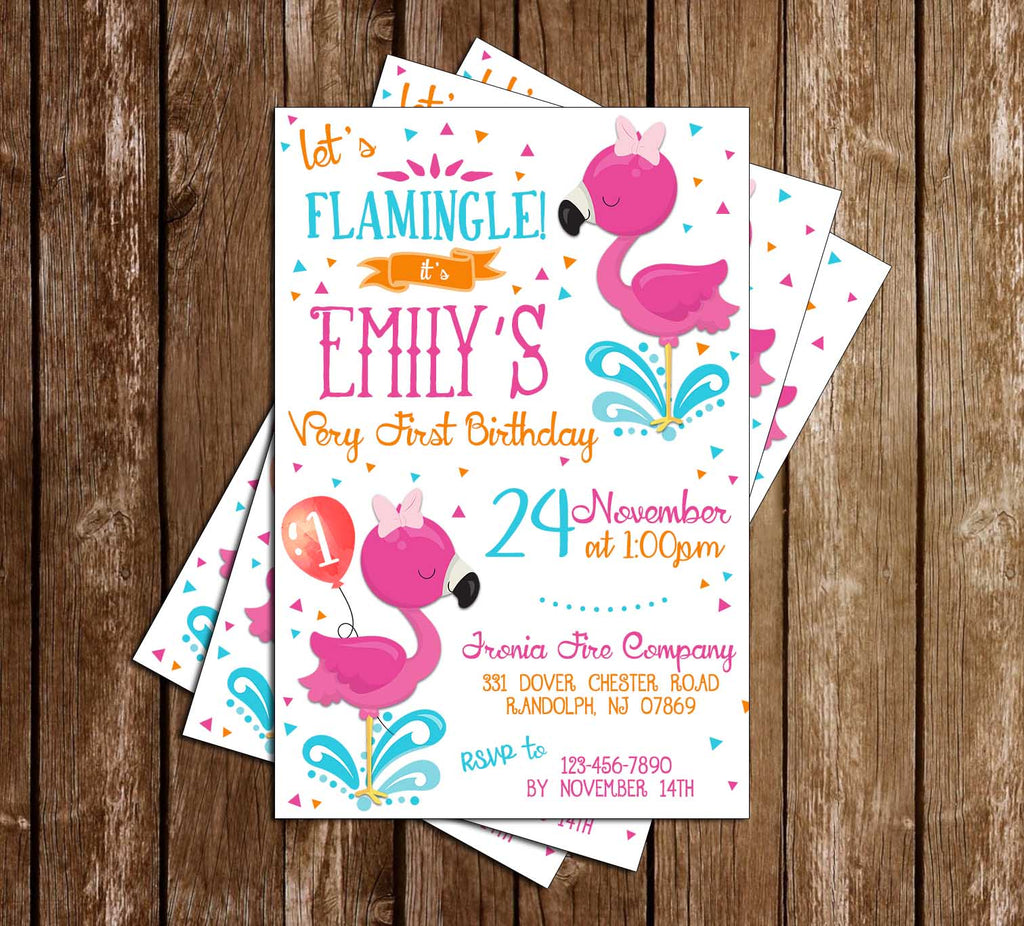 Flamingo - 1st Birthday - Birthday Party - Invitation