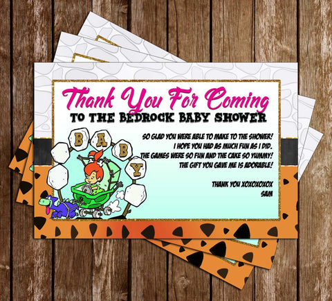 Flintstones - Baby Shower - Thank You Card