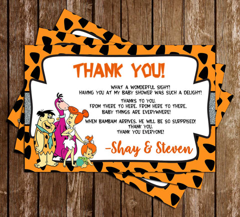 Pebbles - Flintstones - Baby Shower - Thank You Card