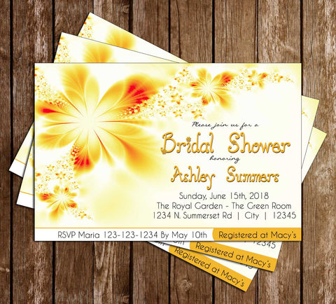 Floral - Flowers - Bridal Shower - Invitation