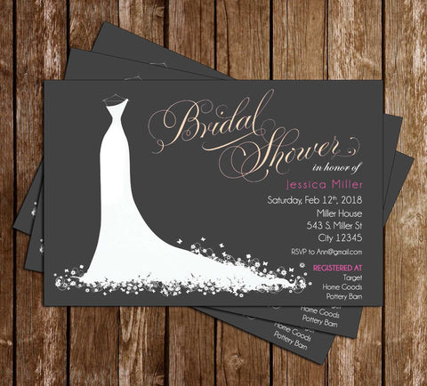 Floral - Wedding Dress - Bridal Shower - Invitation