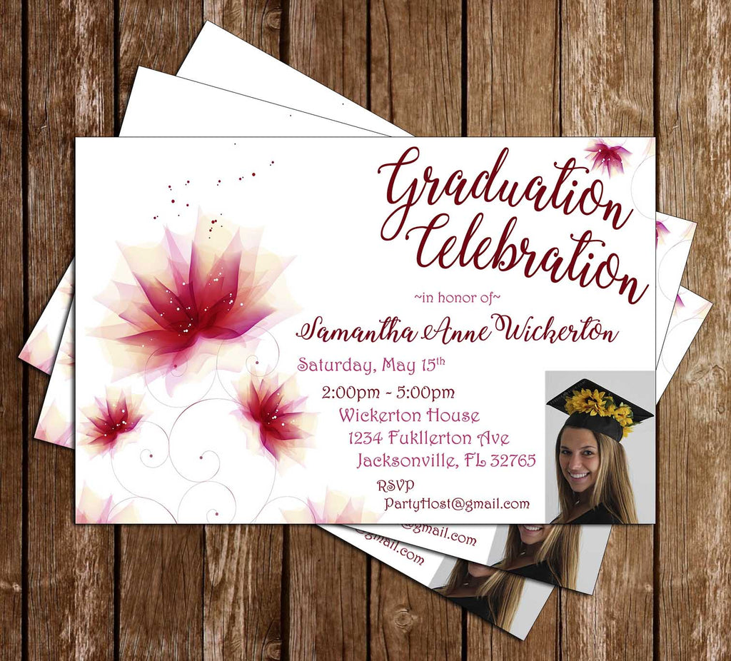 Flowers - Red - Graduation Invitation / Announcement