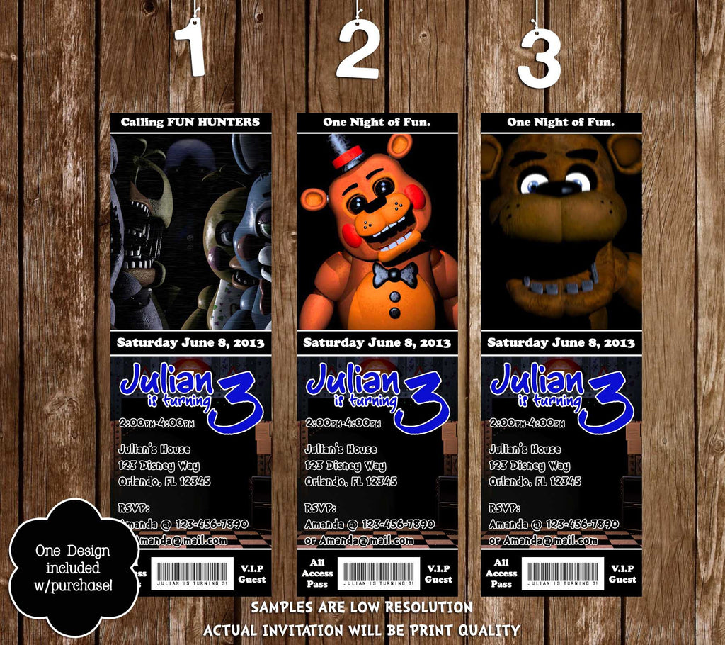 Five Nights At Freddys Video Game Birthday Party Ticket Invitation