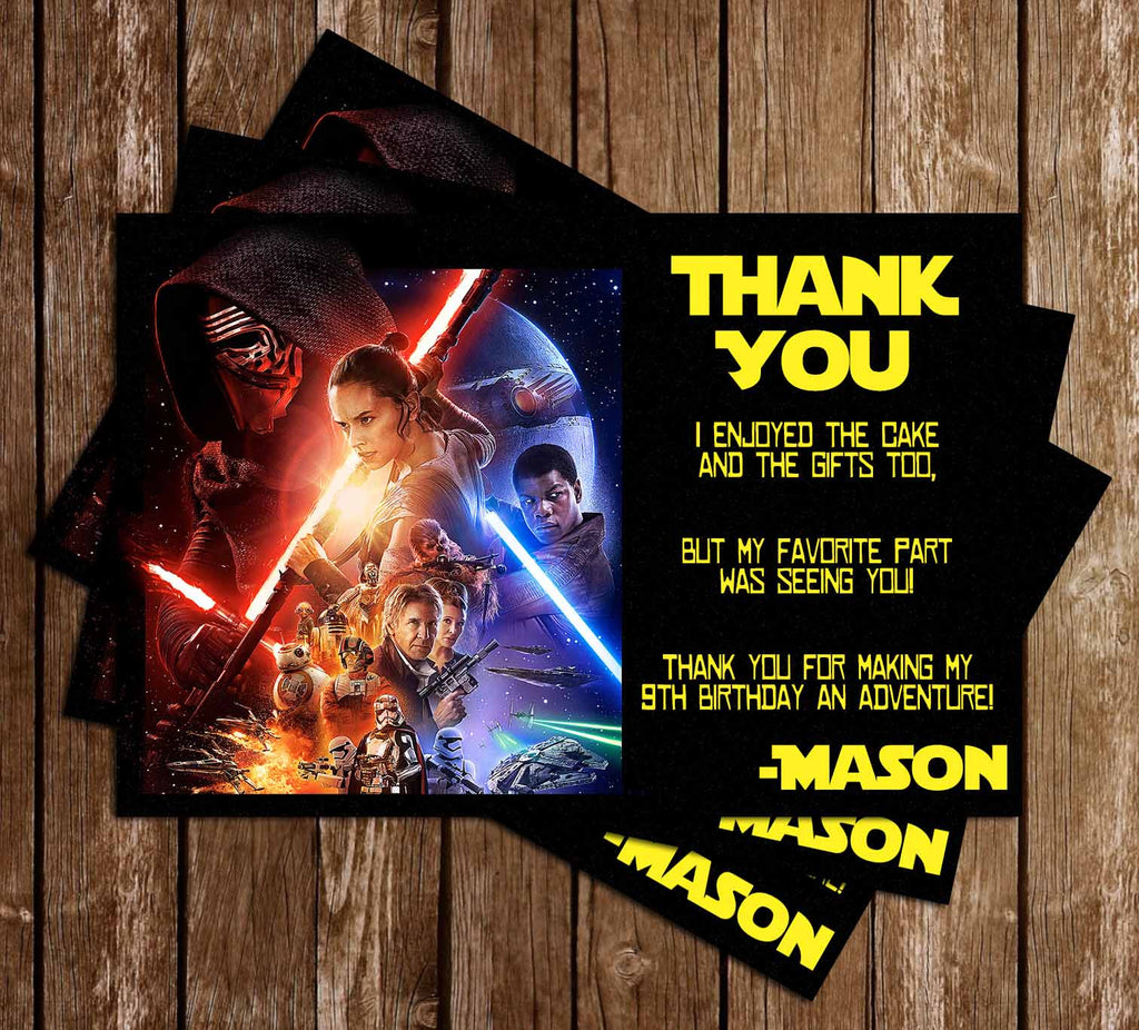 The Force Awakens - Star Wars - Birthday Party Thank You Card Printable