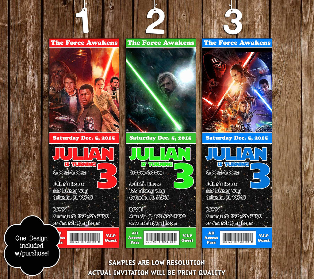 image regarding Star Wars Birthday Invitations Printable identified as Star Wars - The Strain Awakens - Birthday Get together Ticket Invitation Printable