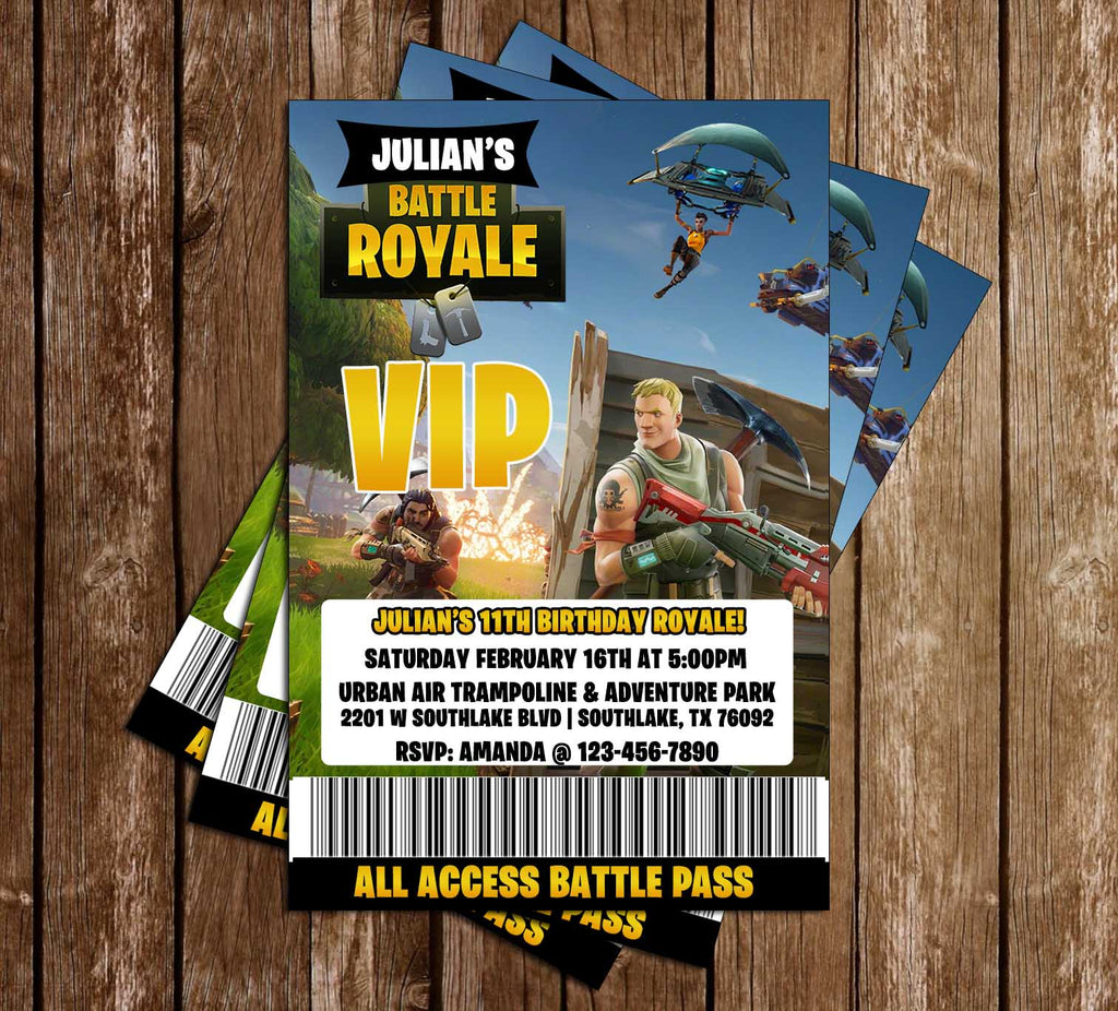 Fortnite Gamer Tags Birthday Party Invitation Double Sided