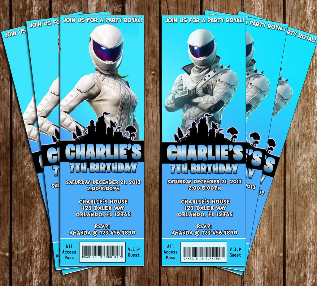 Fortnite - Whiteout or Overtaker - Birthday Party Ticket - Invitation