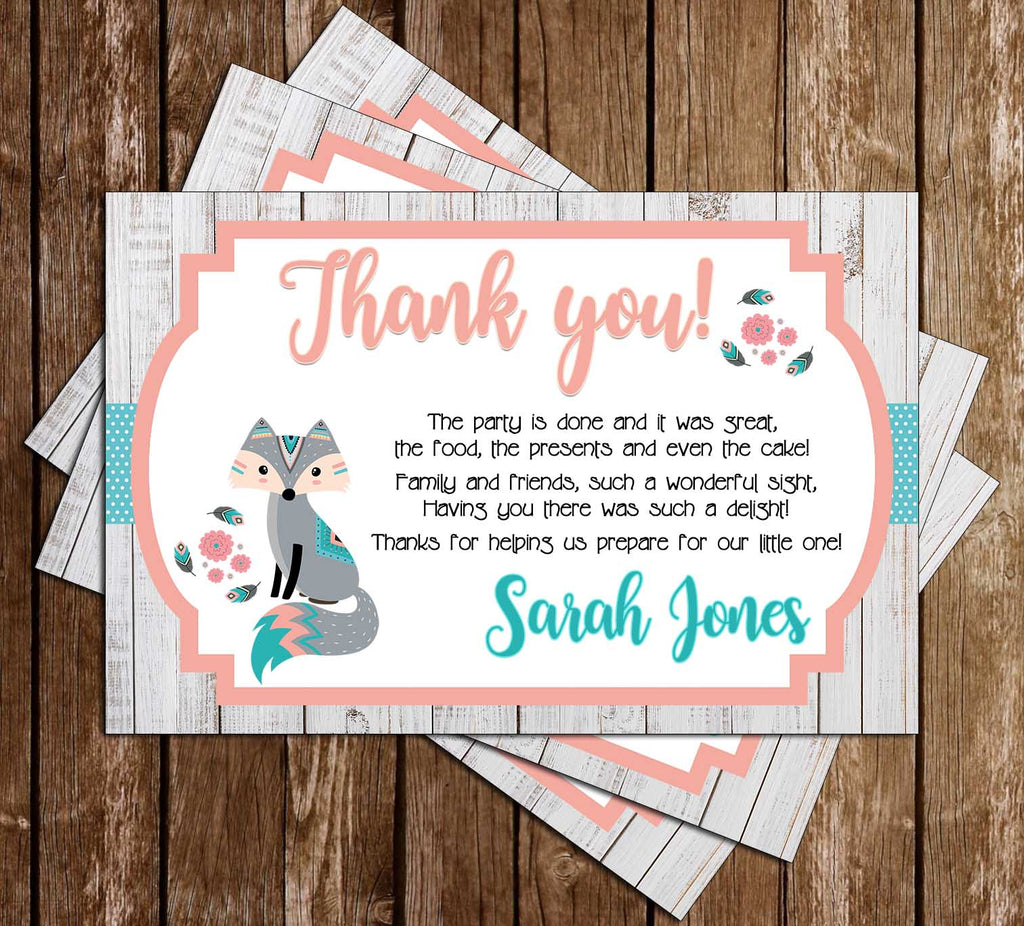 Fox - Baby Girl - Woodland Animal - Baby Shower - Thank You Card