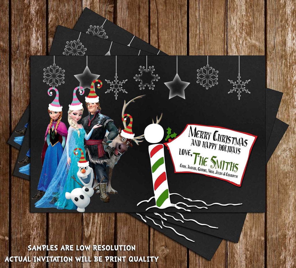 Frozen Movie Chalkboard Christmas Holiday  Card