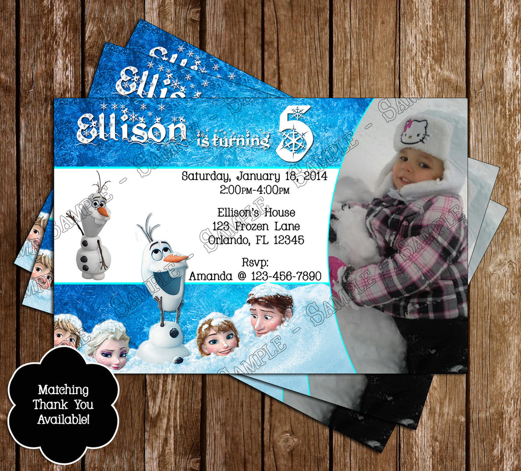 Disneys Frozen Birthday Party Invitation With Photo Of Your Child