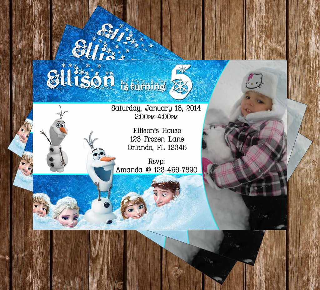 Disney's Frozen Birthday Party Invitation With Photo of Your Child