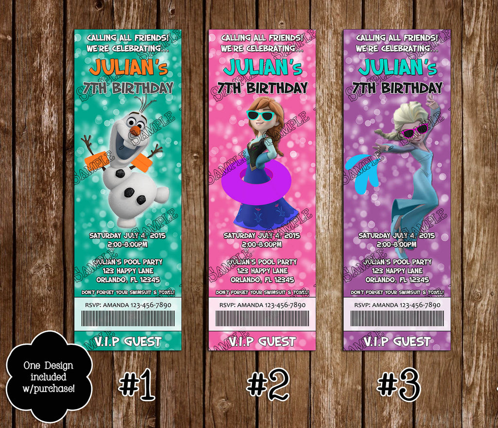 Novel Concept Designs Frozen Pool or Beach Birthday Party Ticket – Party Ticket Invitations