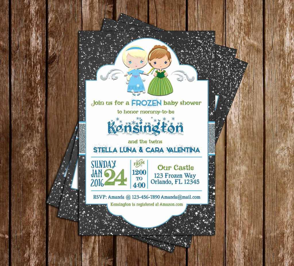 Frozen - Winter Theme - Elsa & Anna - Baby Shower Invitation