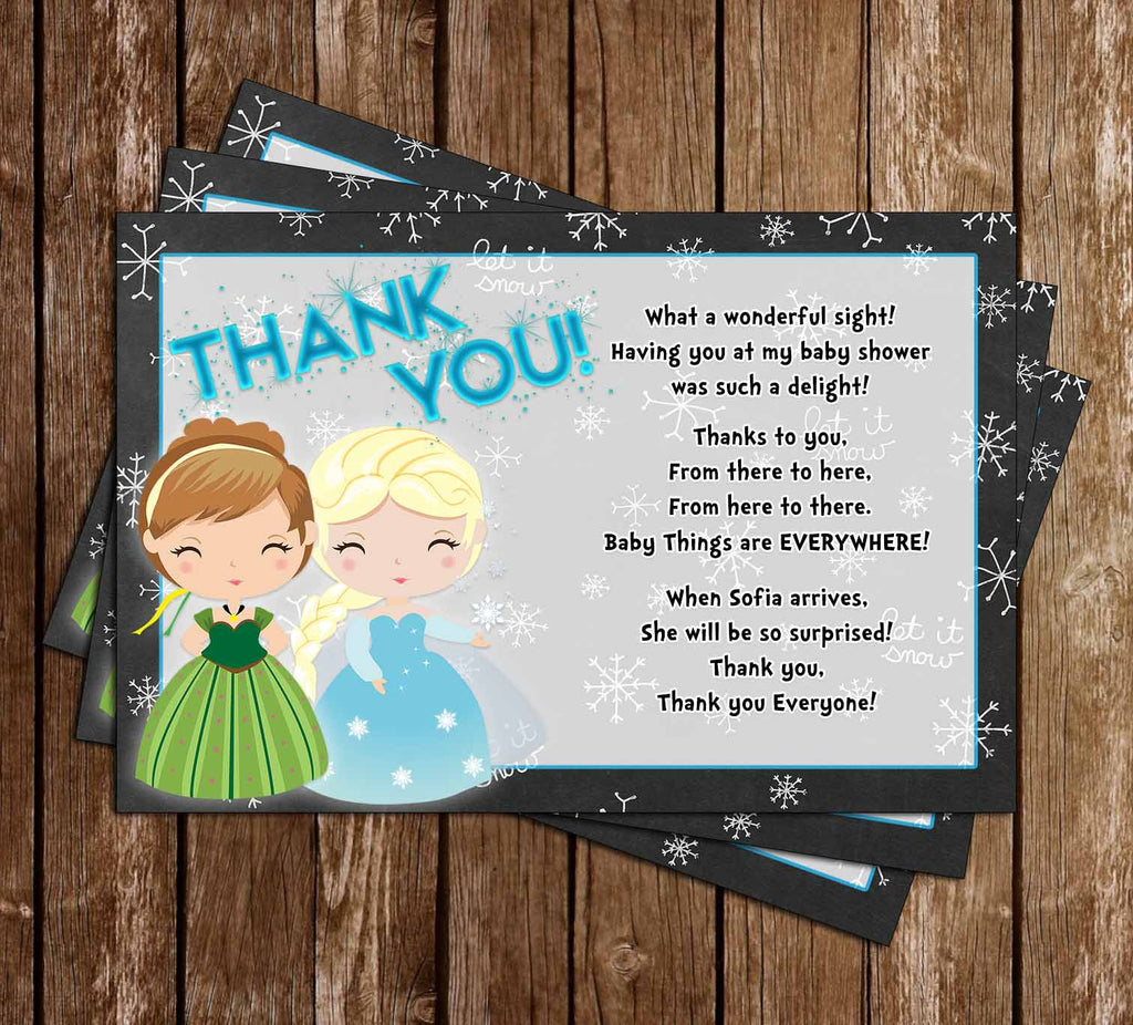 Frozen - Winter Theme - Elsa & Anna - Twins Baby Shower Thank You Card