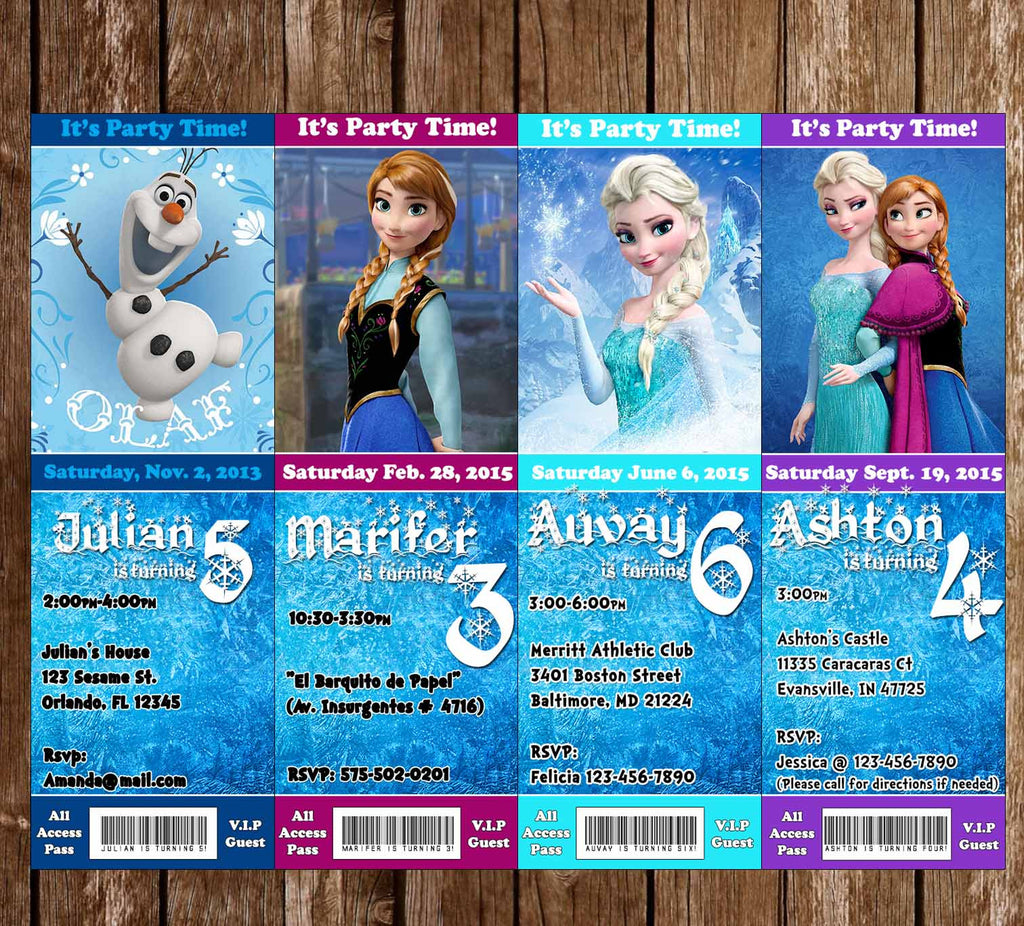 Disneys Frozen Birthday Party Ticket Invitation Enlarge Image
