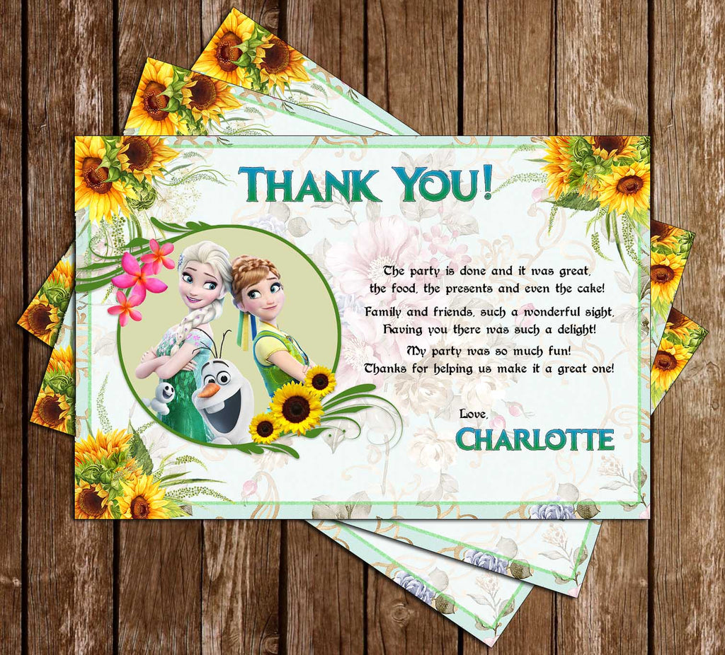 Frozen Fever Movie Birthday Party Thank You Card