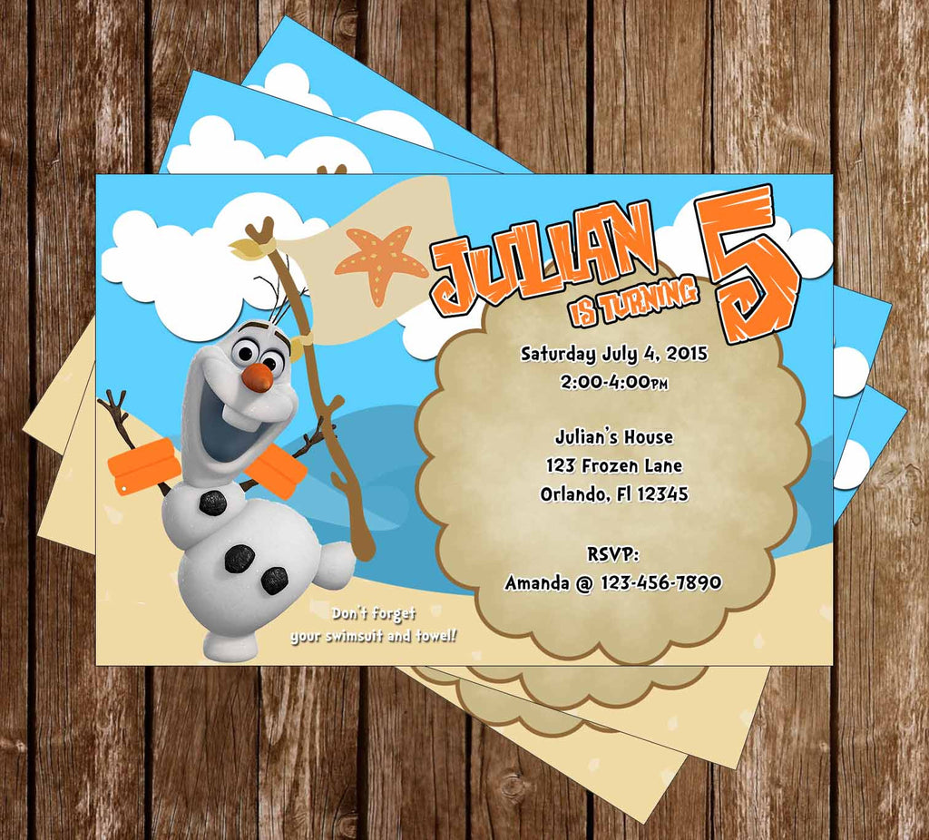 Frozen Olaf Pool or Beach Birthday Party Invitation