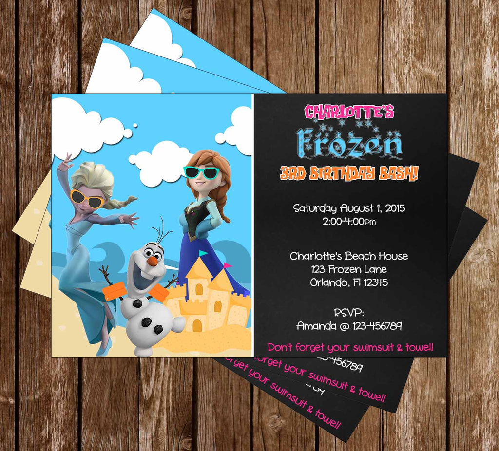 Frozen Pool or Beach Birthday Party Invitation
