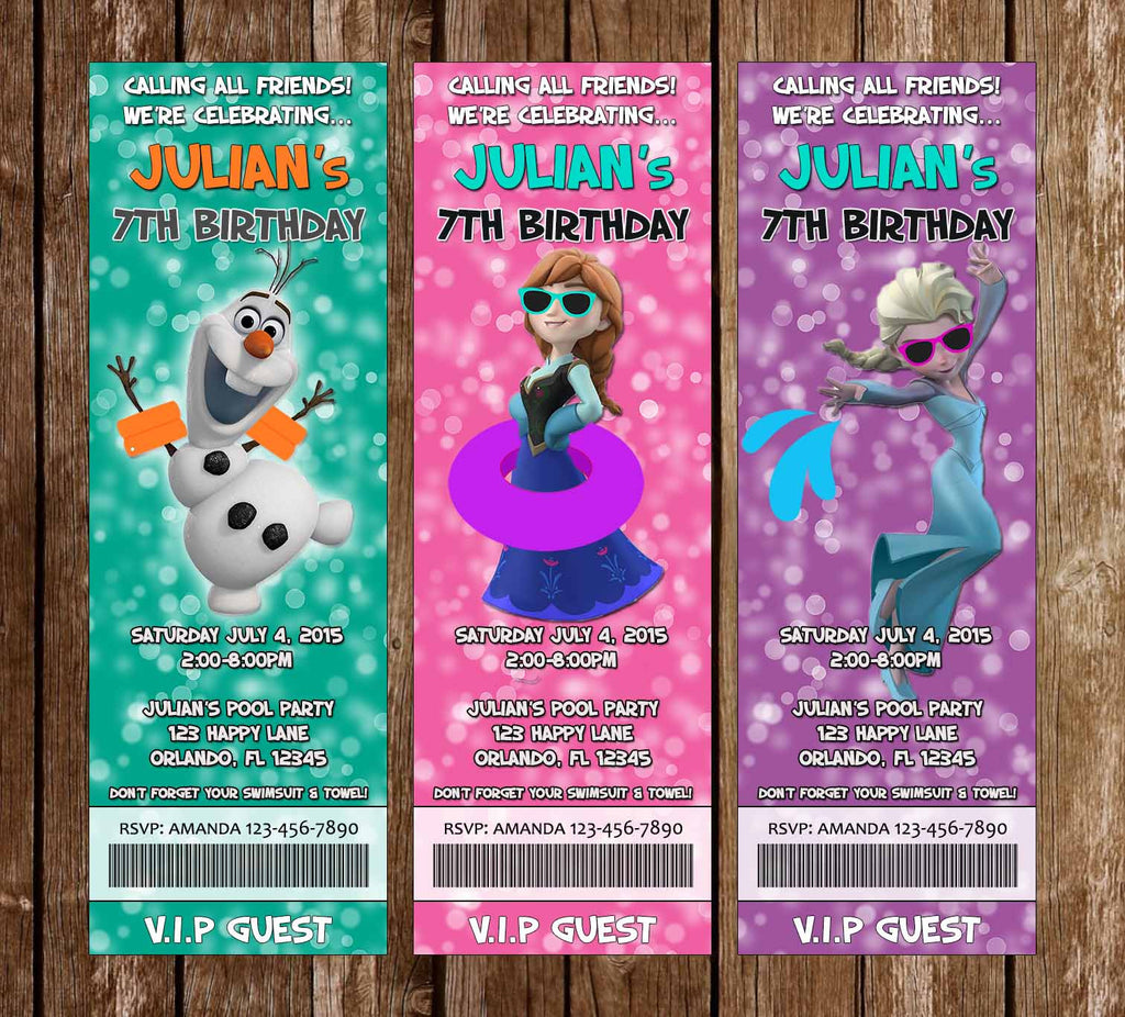 Disney's Frozen Pool or Beach Birthday Party Ticket Invitations