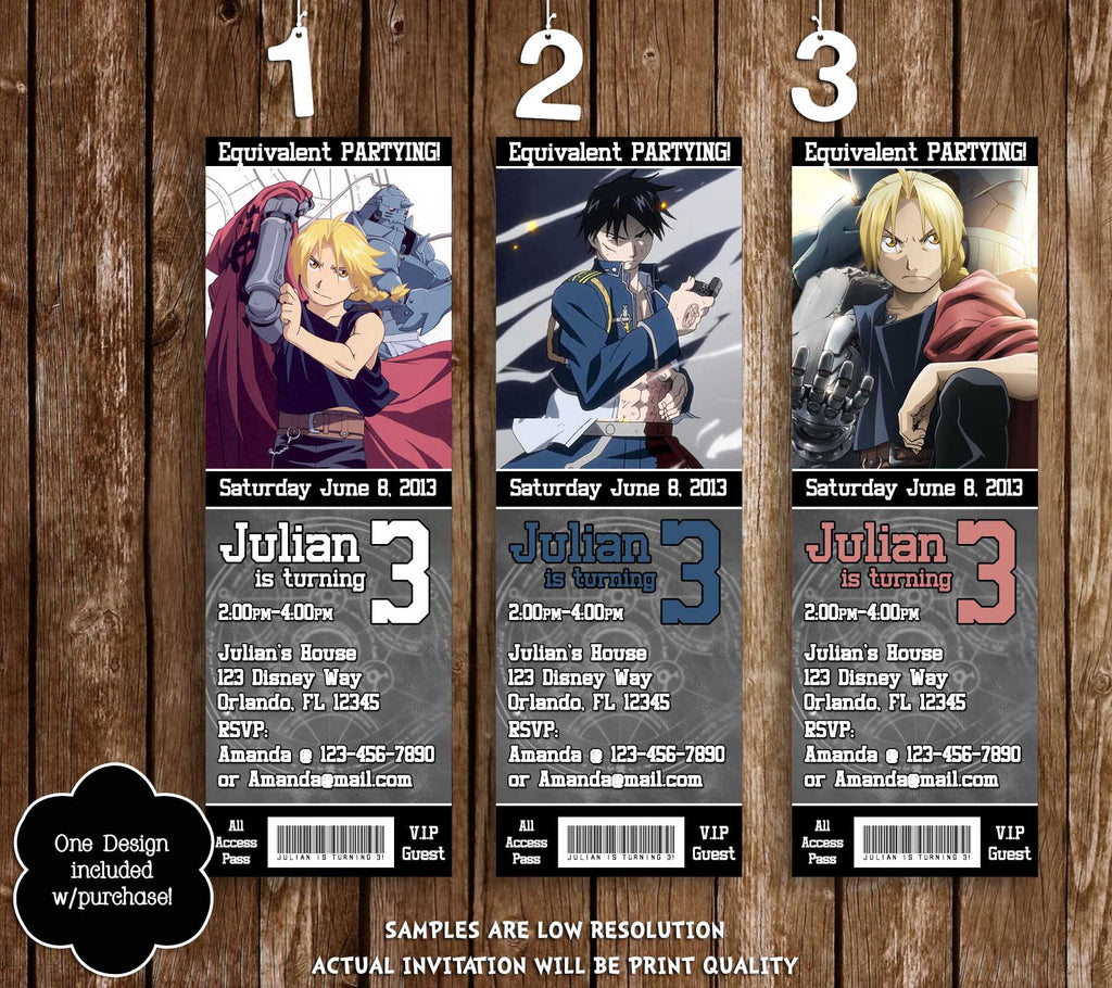 novel concept designs full metal alchemist anime birthday party full metal alchemist anime birthday party ticket invitations