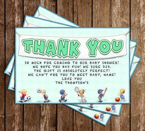 Sports - Baby Shower - Thank You Card