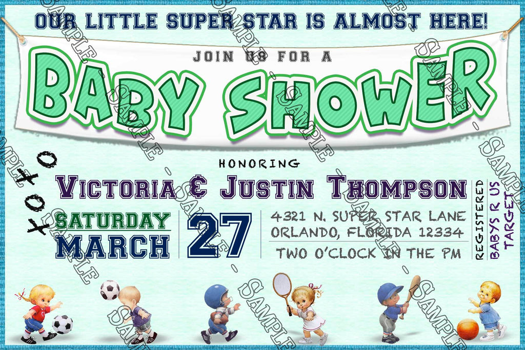 Novel Concept Designs - Sports - Baby Shower - Invitation