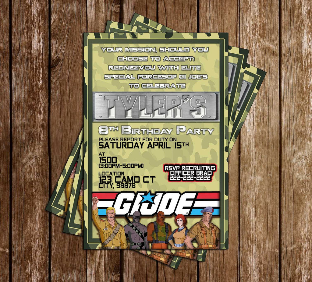 GI Joe - Birthday Party - Invitation