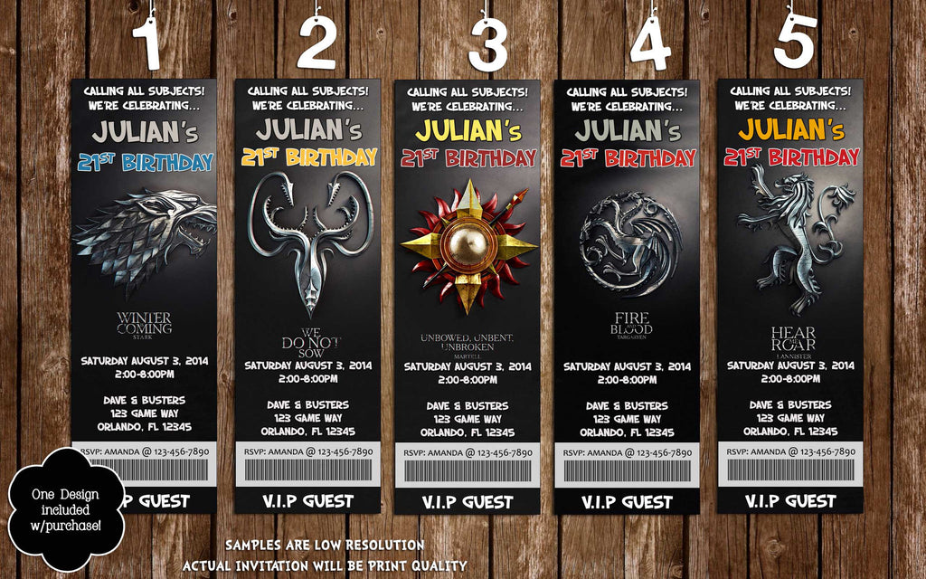 Novel Concept Designs - Game of Thrones Birthday Ticket ...