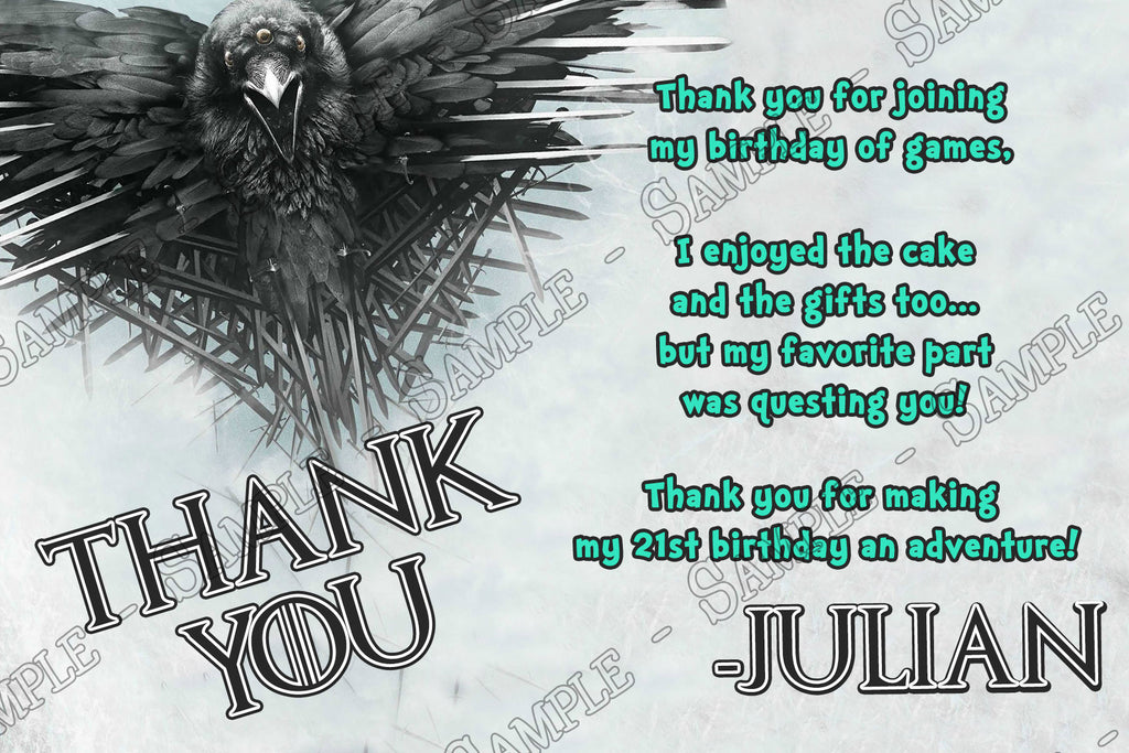 Novel Concept Designs Hbo Game Of Thrones Birthday Thank You Card