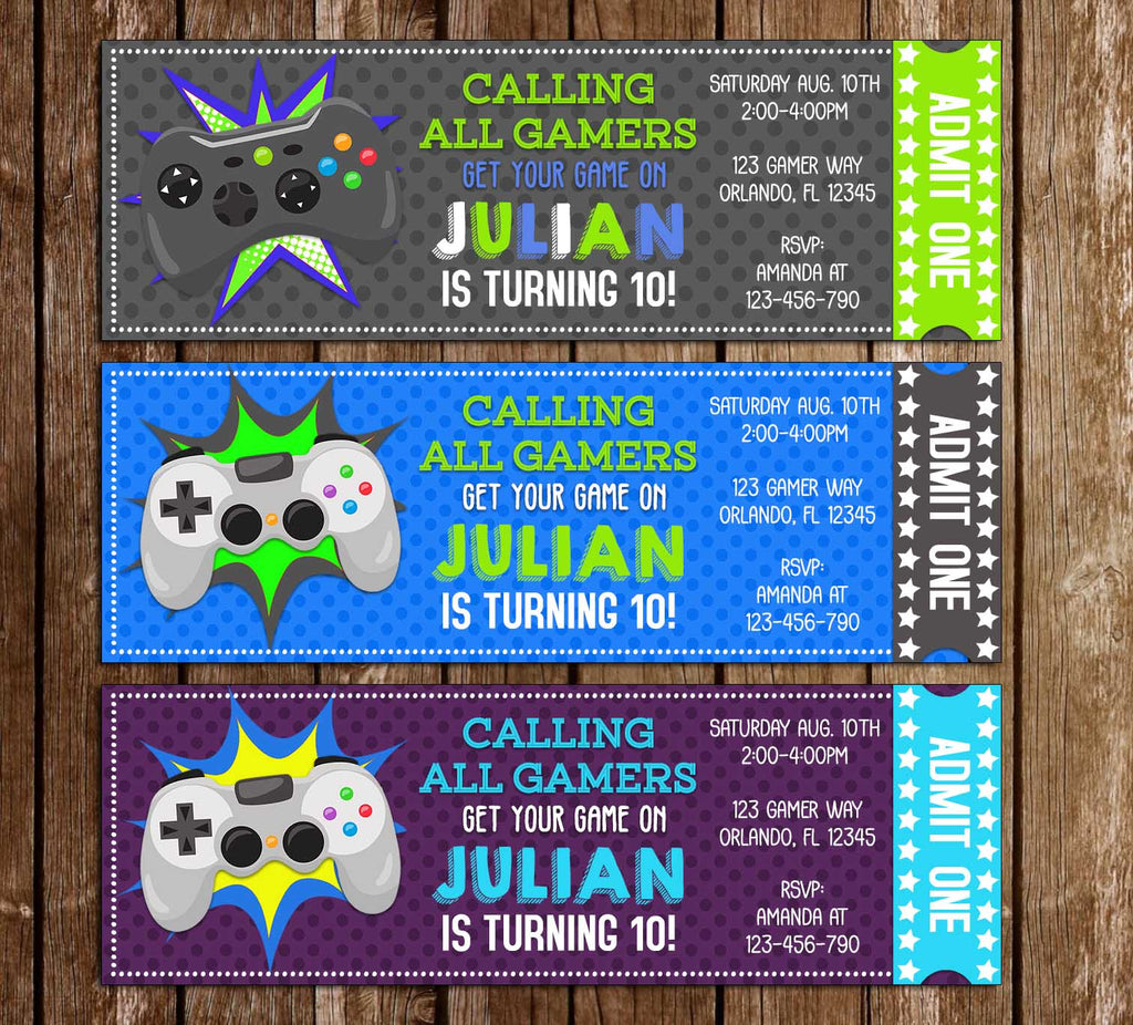 picture regarding Free Printable Video Game Party Invitations called Movie Sport - Gamer - Ticket - Birthday Get together Invitation