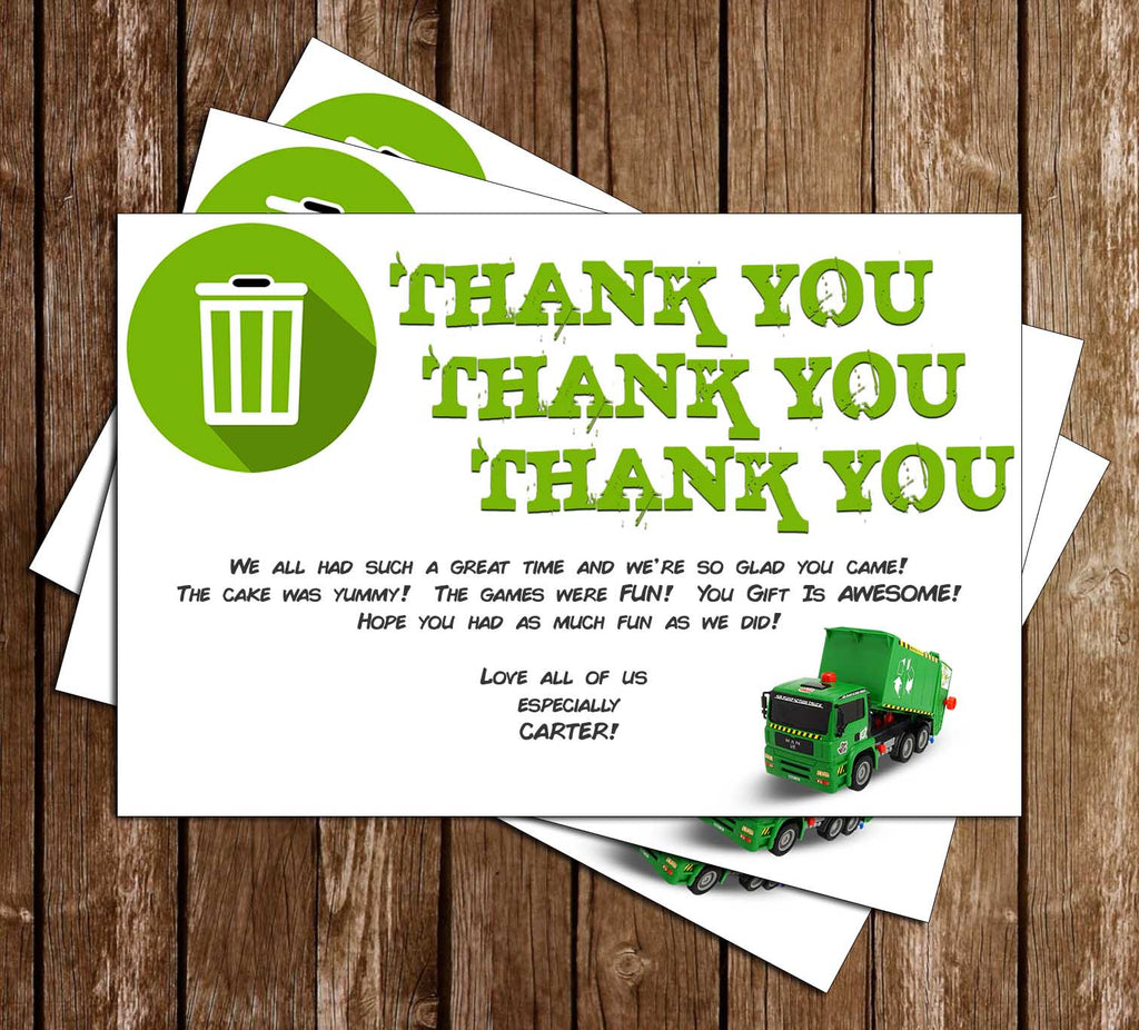 Garbage Trucks - Trash Truck - Birthday Party - Thank You Card
