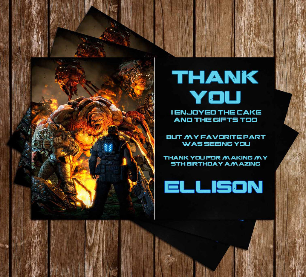 Gears of War Video Game Birthday Thank You Card
