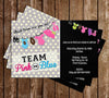 Gender Reveal Party - Team Pink - Team Blue - Baby Shower Invitation