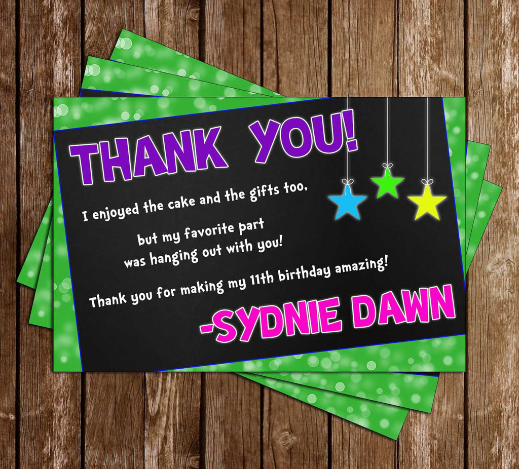 Glow in the Dark - Neon - Birthday Party Thank You Card