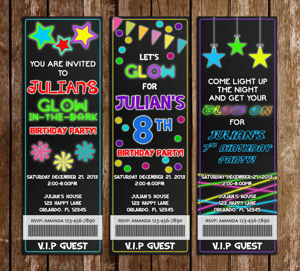Glow in the Dark - Neon - Birthday Party Ticket Invitation