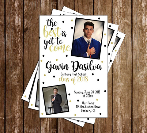 Gold & Black  - Graduation Invitation / Announcement