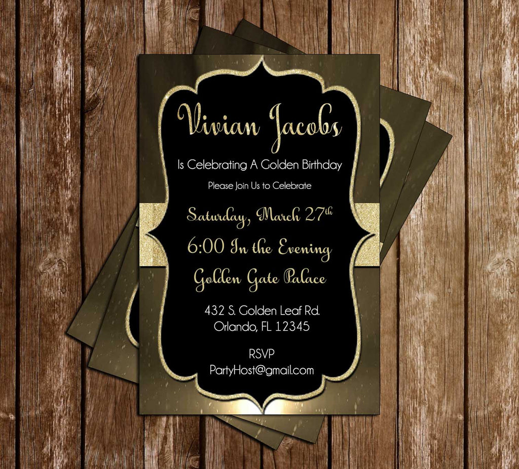 Golden - Birthday - Party - Invitation