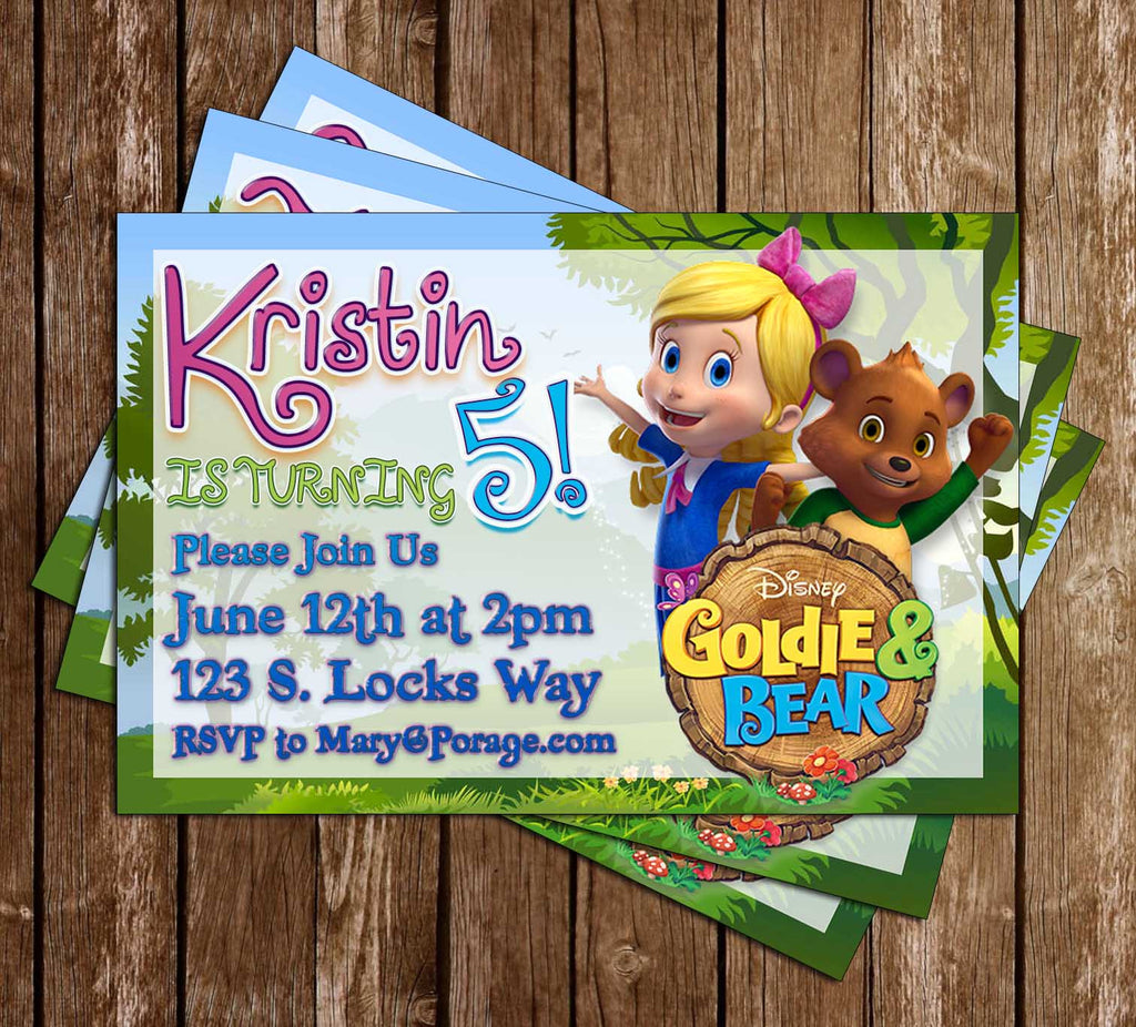 Goldie and the Bear - Disney Jr - Birthday Party - Invitation