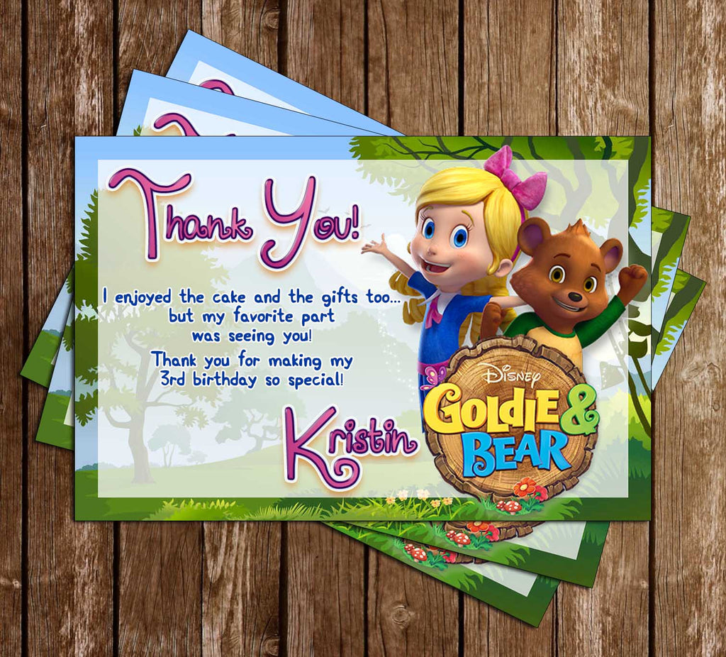 Goldie and the Bear -Disney Jr - Birthday Party - Thank You Card