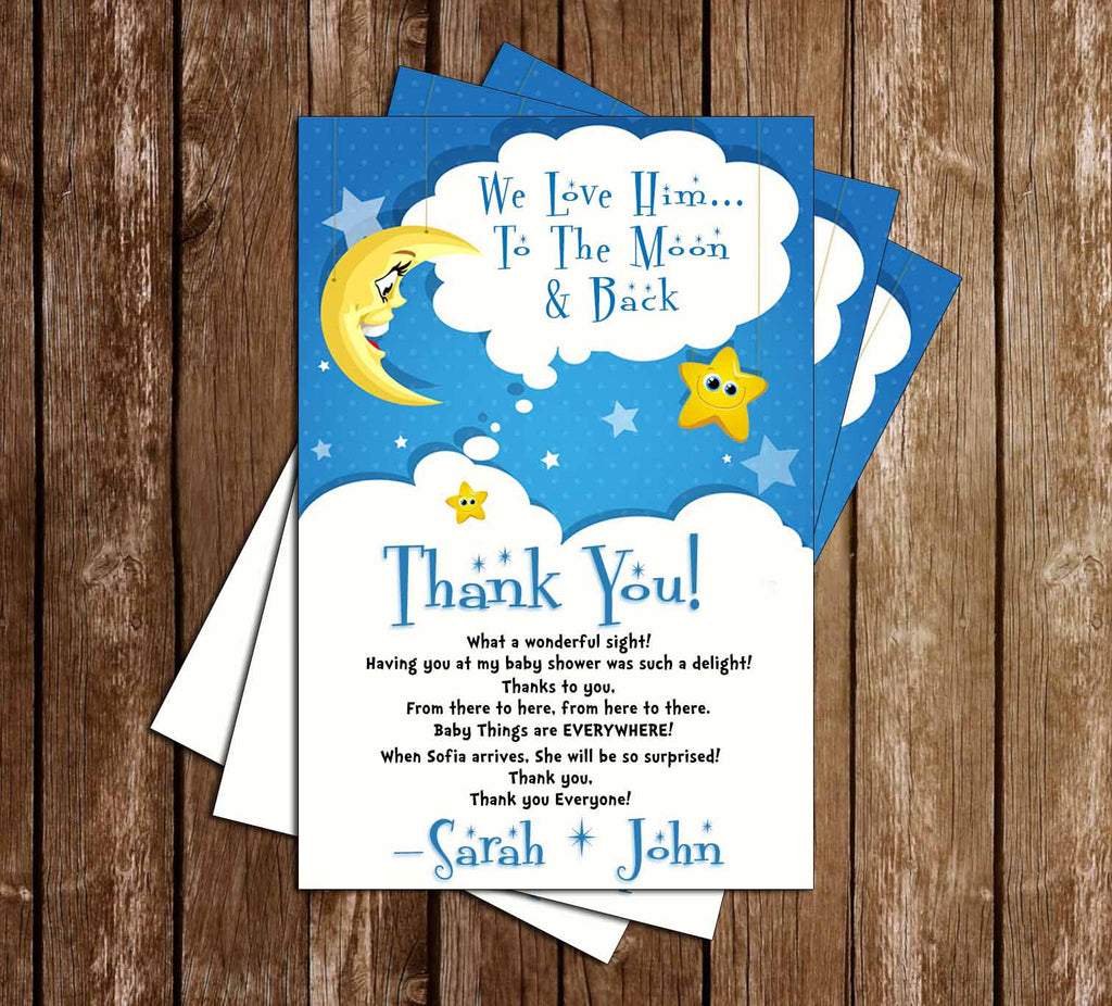 Good Night Moon - To the Moon and Back - Baby Shower - Thank You Card