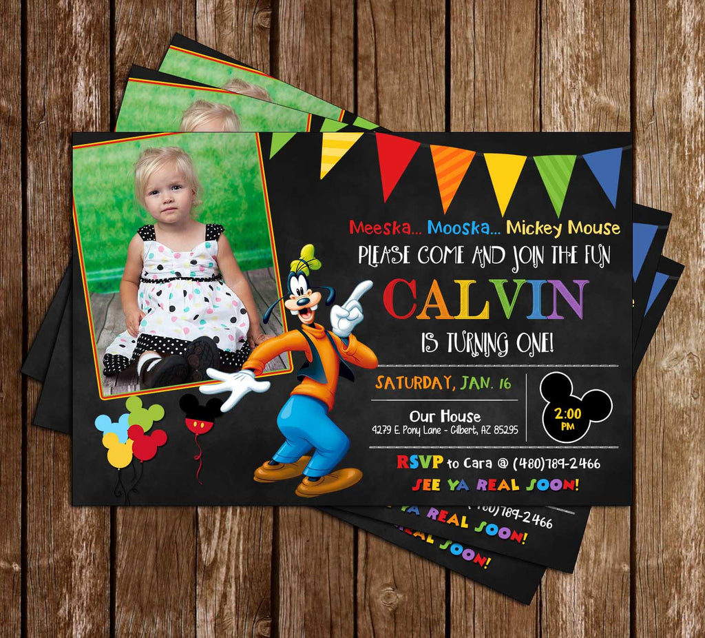Goofy - Chalkboard Birthday Invitation