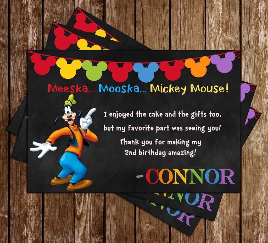 Goofy - Mickey Mouse - Chalkboard Birthday - Thank You Card