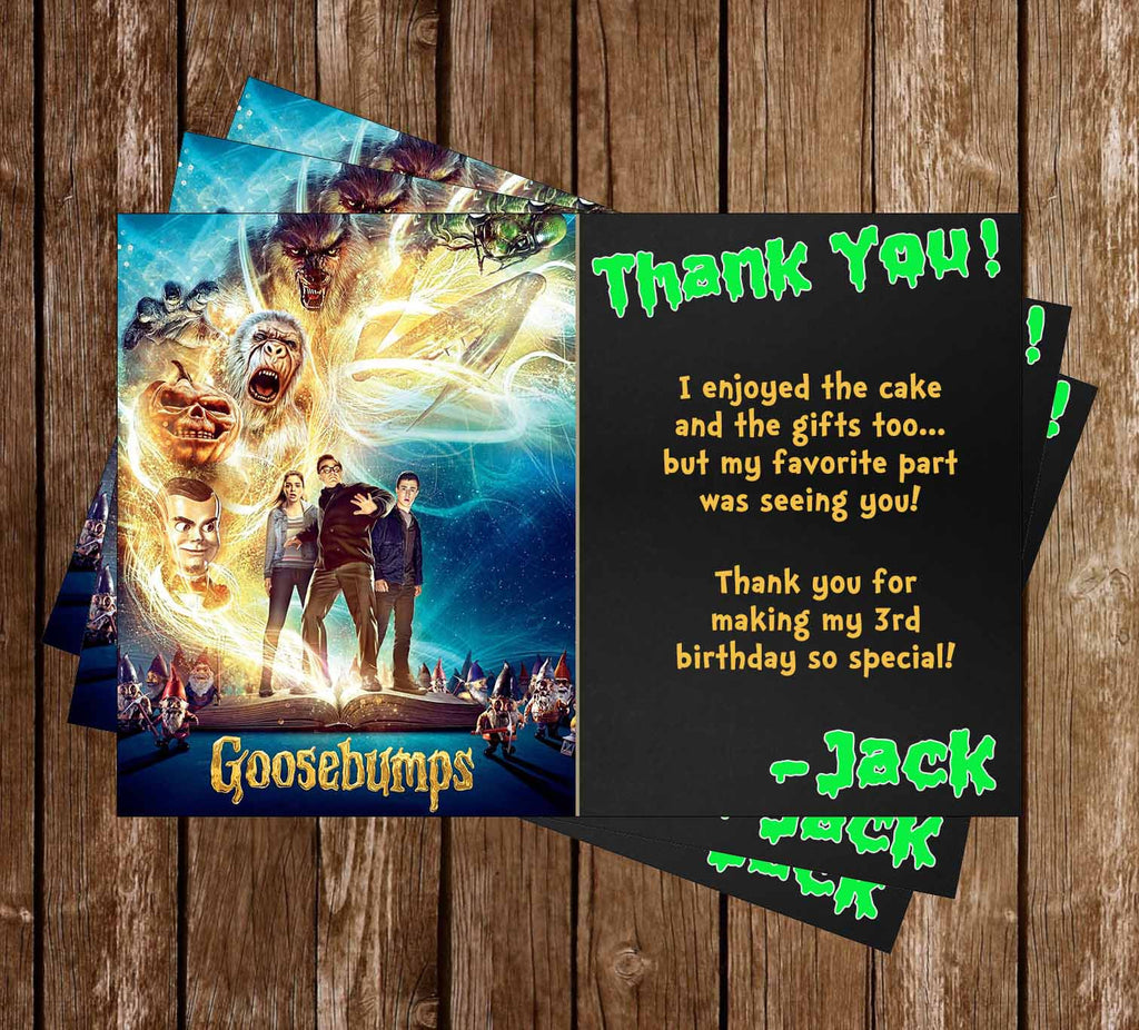 Goosebumps Movie Birthday Party Thank You Card