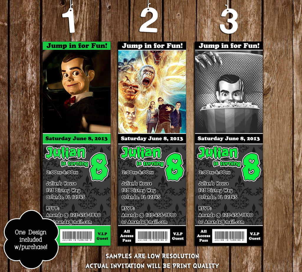 novel concept designs goosebumps movie birthday party ticket