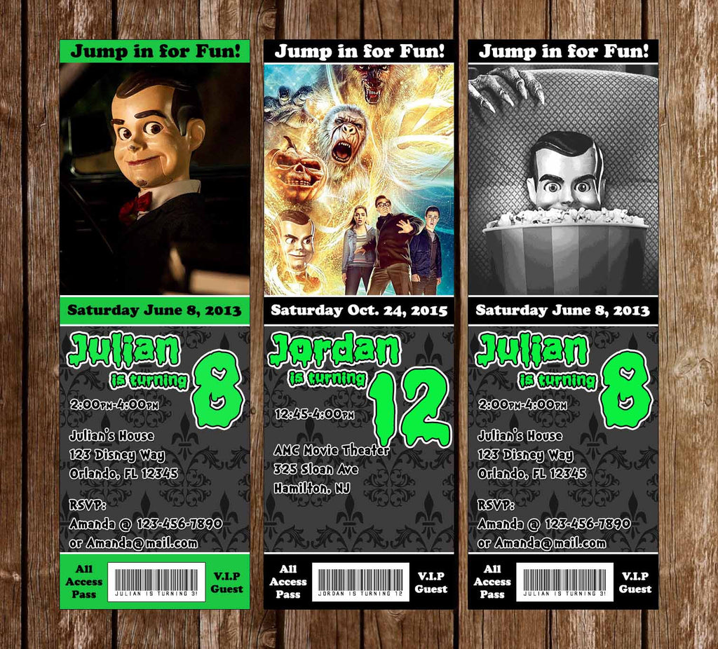 Goosebumps Movie Birthday Party Ticket Invitation