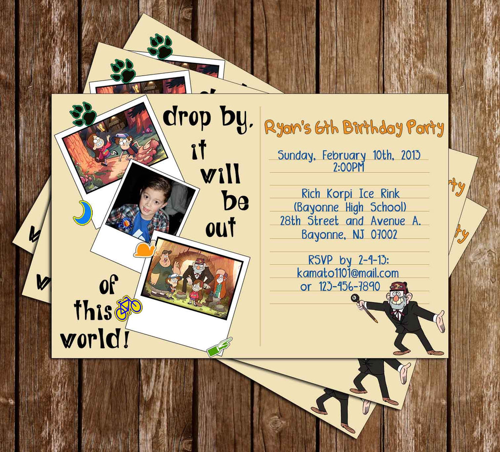Gravity Falls Birthday Invitation (Polaroid)