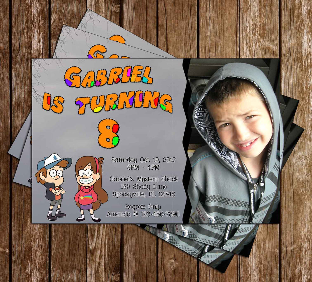 Gravity Falls Birthday Invitation with Photo of Your Child
