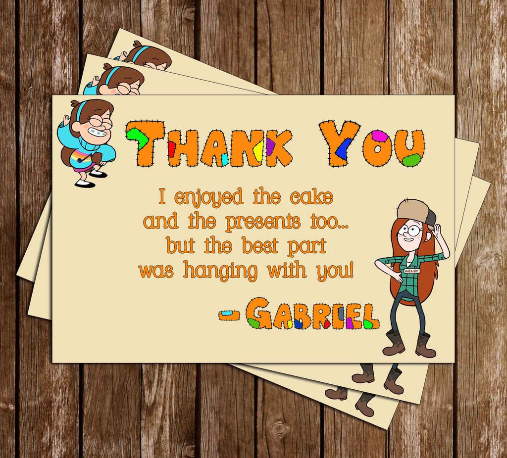 Gravity Falls Birthday Thank You Card (Orange)