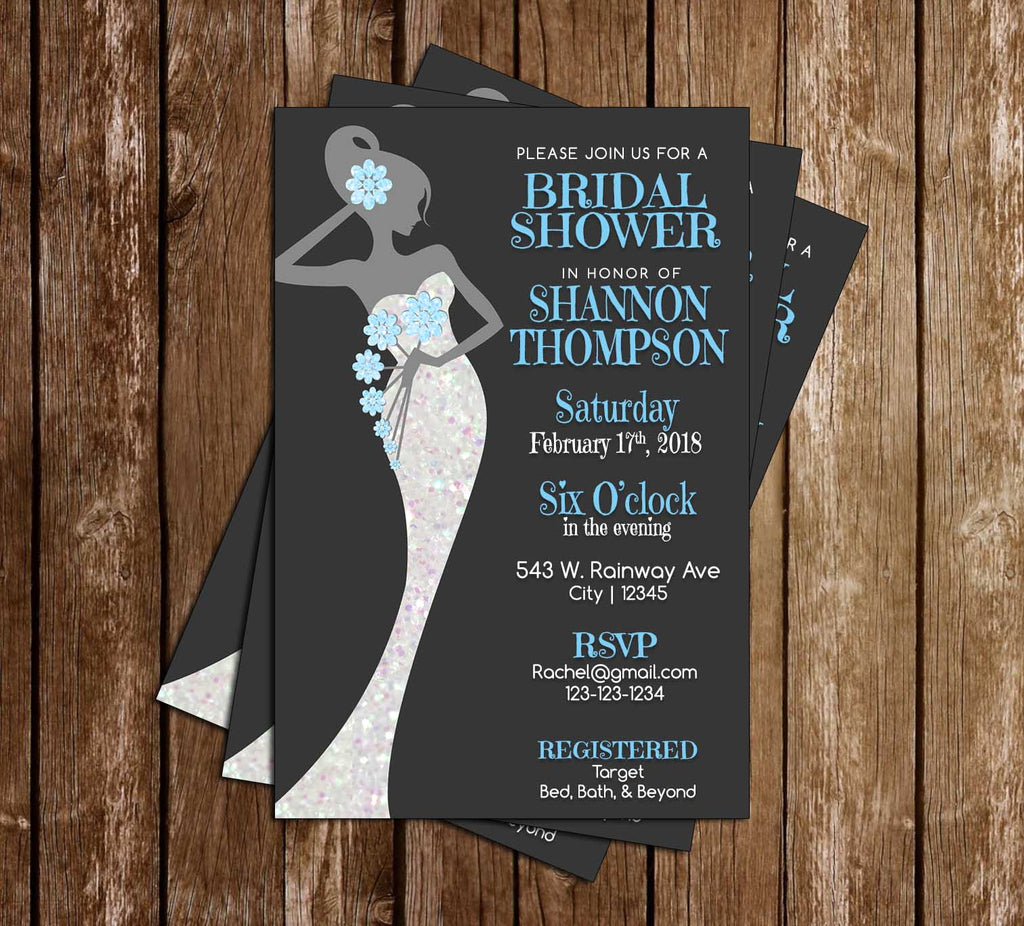 Glitter Grey & Blue  - Wedding Dress - Bridal Shower - Invitation